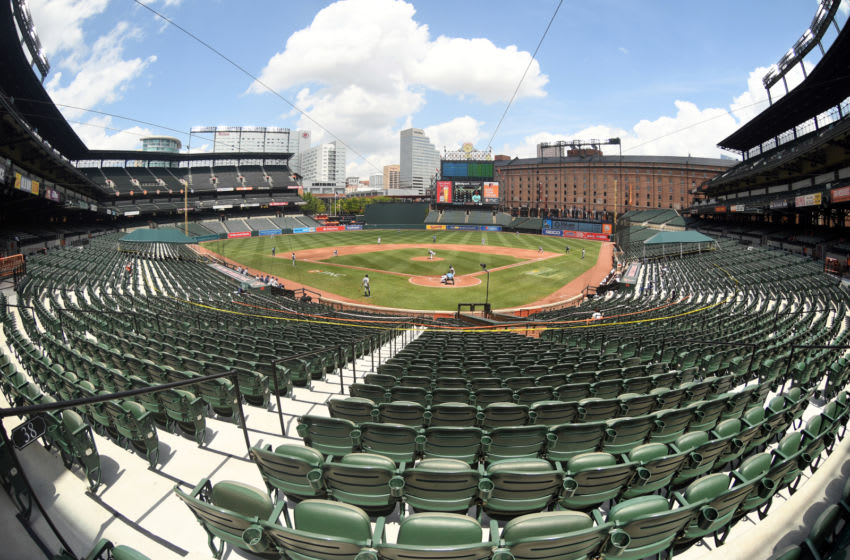 BALTIMORE, MD - AUGUST 02: General view of the third inning during a baseball game between Baltimore Orioles and the Tampa Bay Rays on August 2, 2020 at Oriole Park at Camden Yards in Baltimore, Maryland. (Photo by Mitchell Layton/Getty Images)