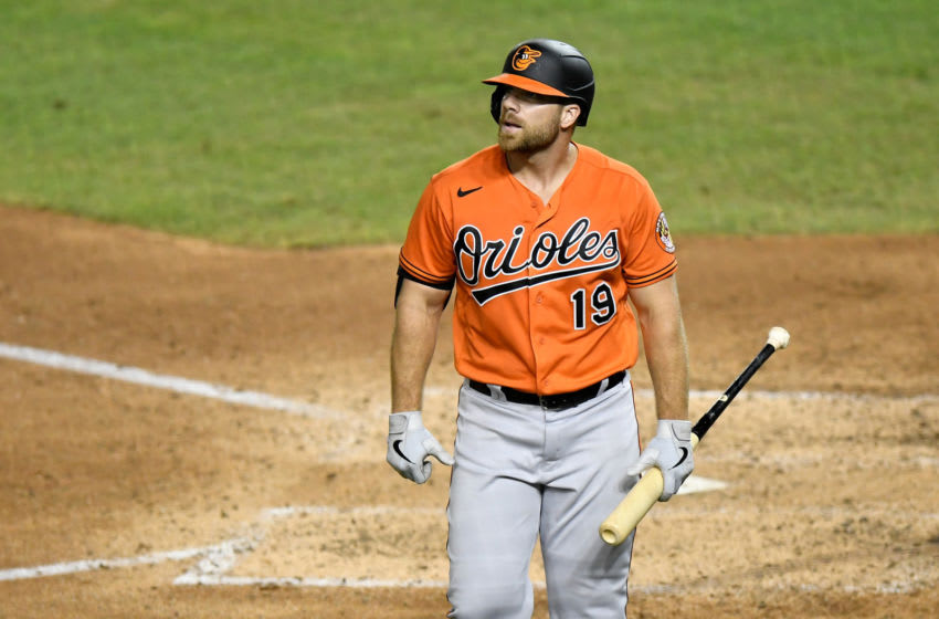 WASHINGTON, DC - AUGUST 08: Chris Davis #19 of the Baltimore Orioles walks to the dugout after striking out in the eighth inning against the Washington Nationals at Nationals Park on August 8, 2020 in Washington, DC. (Photo by Greg Fiume/Getty Images)