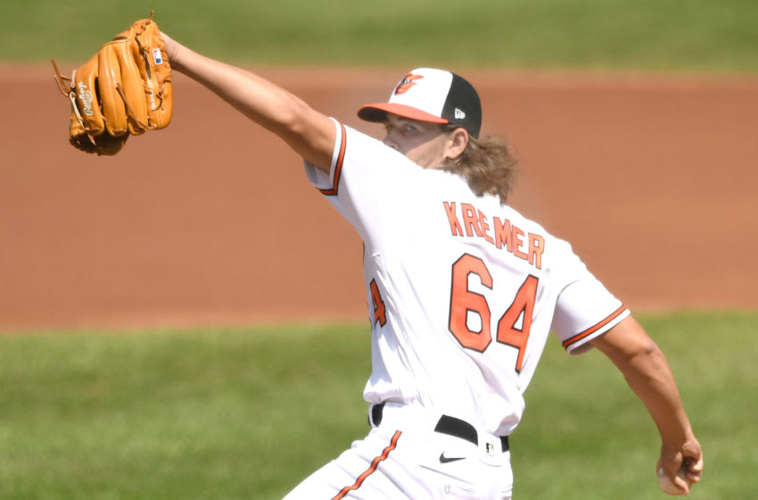 BALTIMORE, MD - SEPTEMBER 06: Dean Kremer #64 of the Baltimore Orioles pitches in his Major League debut in the first inning against the New York Yankees at Oriole Park at Camden Yards on September 6, 2020 in Baltimore, Maryland. (Photo by Mitchell Layton/Getty Images)