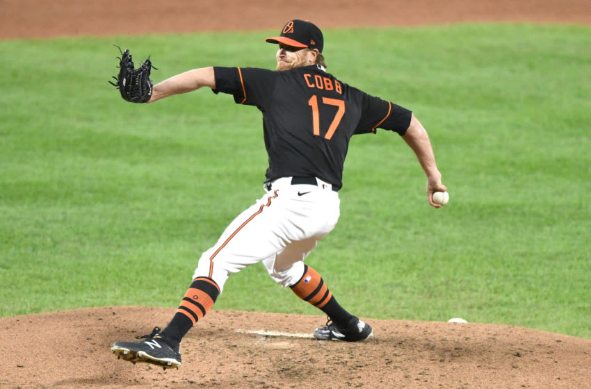 BALTIMORE, MD - SEPTEMBER 18: Alex Cobb #17 of the Baltimore Orioles pitches in the third inning during a baseball game against the Tampa Bay Rays at Oriole Park at Camden Yards on September 18, 2020 in Baltimore, Maryland. (Photo by Mitchell Layton/Getty Images)