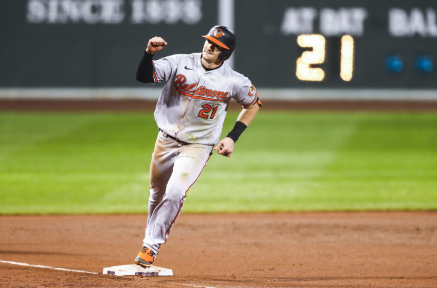 BOSTON, MA - SEPTEMBER 23: Austin Hays #21 of the Baltimore Orioles reacts as he rounds third base after hitting a solo home run in the seventh inning of a game against the Boston Red Sox at Fenway Park on September 23, 2020 in Boston, Massachusetts. (Photo by Adam Glanzman/Getty Images)