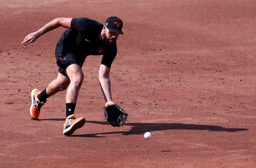 BALTIMORE, MARYLAND - JULY 03: Third baseman Renato Nunez #39 of the Baltimore Orioles fields ground balls during the Orioles first summer workout at Oriole Park at Camden Yards on July 03, 2020 in Baltimore, Maryland. (Photo by Rob Carr/Getty Images)