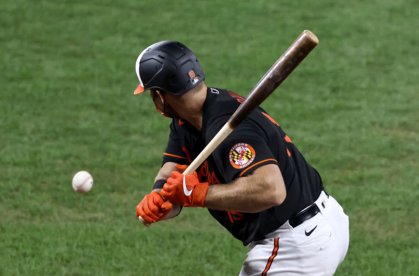 BALTIMORE, MARYLAND - JULY 31: Chris Davis #19 of the Baltimore Orioles strikes out looking for the second out of the seventh inning against the Tampa Bay Rays at Oriole Park at Camden Yards on July 31, 2020 in Baltimore, Maryland. (Photo by Rob Carr/Getty Images)