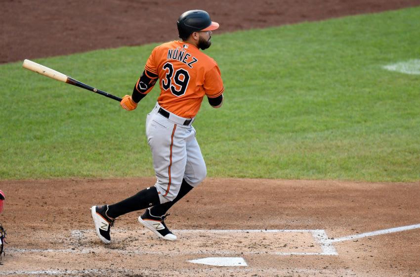 WASHINGTON, DC - AUGUST 08: Renato Nunez #39 of the Baltimore Orioles bats against the Washington Nationals at Nationals Park on August 8, 2020 in Washington, DC. (Photo by G Fiume/Getty Images)
