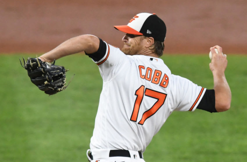 BALTIMORE, MD - AUGUST 17: Alex Cobb #17 of the Baltimore Orioles pitches during a baseball game against the Toronto Blue Jays at Oriole Park at Camden Yards August 17, 2020 in Baltimore, Maryland. (Photo by Mitchell Layton/Getty Images)