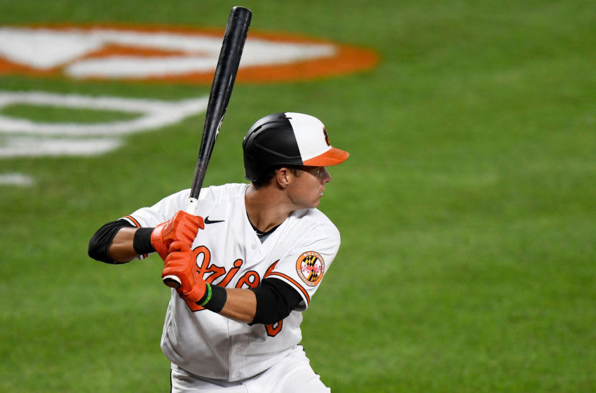 BALTIMORE, MD - SEPTEMBER 01: Ryan Mountcastle #6 of the Baltimore Orioles bats against the New York Mets at Oriole Park at Camden Yards on September 1, 2020 in Baltimore, Maryland. (Photo by G Fiume/Getty Images)