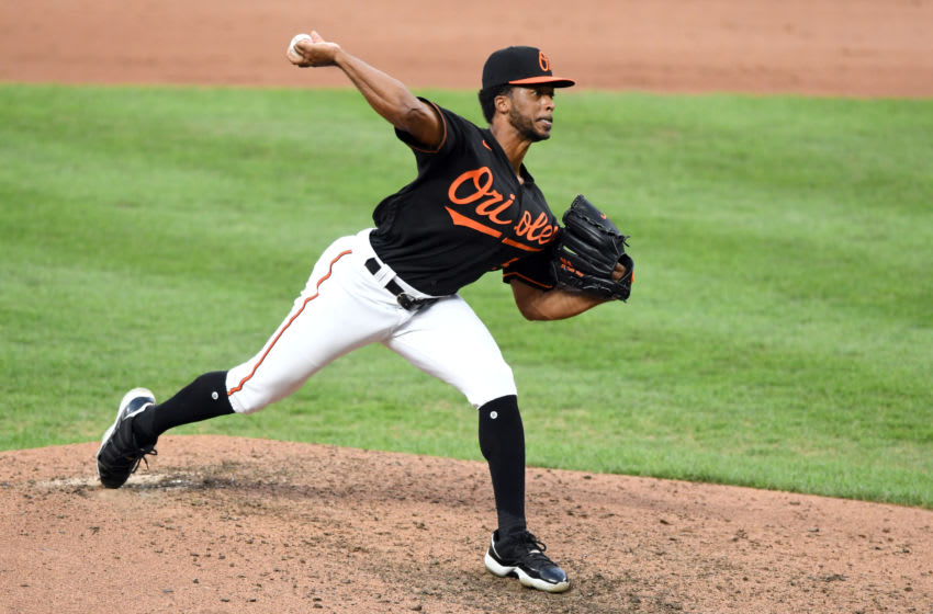 BALTIMORE, MD - SEPTEMBER 04: Dillon Tate #55 of the Baltimore Orioles during game one of a doubleheader baseball game against the New York Yankees at Oriole Park at Camden Yards on September 4, 2020 in Baltimore, Maryland. (Photo by Mitchell Layton/Getty Images)