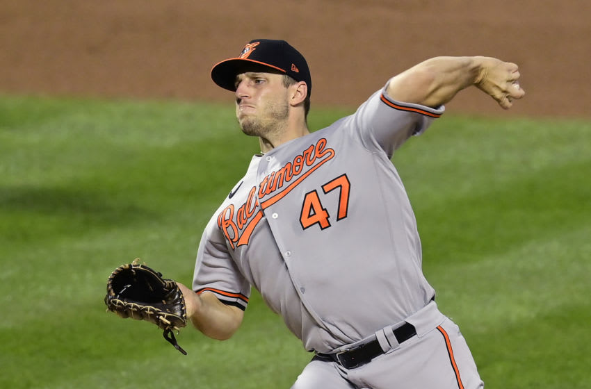 NEW YORK, NEW YORK - SEPTEMBER 08: John Means #47 of the Baltimore Orioles delivers the pitch against the New York Mets during the first inning at Citi Field on September 08, 2020 in New York City. (Photo by Steven Ryan/Getty Images)