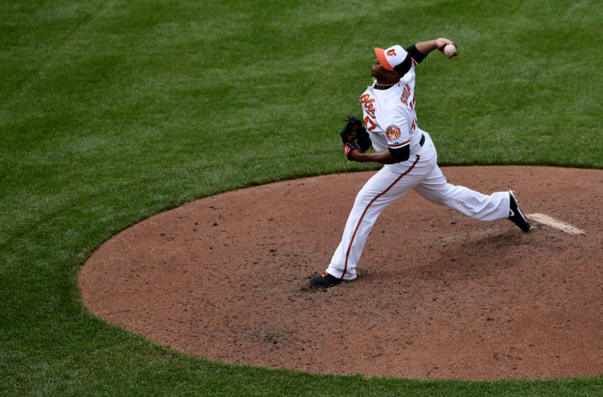 BALTIMORE, MD - JUNE 12: Pitcher Pedro Strop #47 of the Baltimore Orioles works the seventh inning against the Los Angeles Angels of Anaheim at Oriole Park at Camden Yards on June 12, 2013 in Baltimore, Maryland. The Los Angeles Angels of Anaheim won, 9-5. (Photo by Patrick Smith/Getty Images)