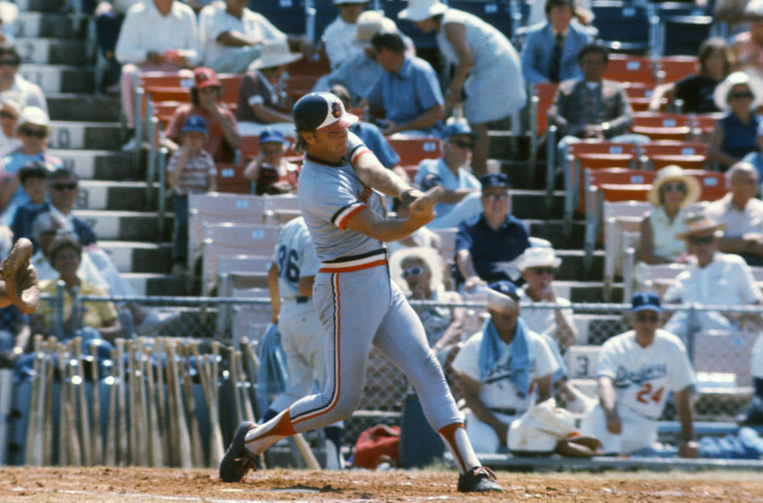 VERO BEACH, FL - CIRCA 1975: Dave Duncan #9 of the Baltimore Orioles bats against the Los Angeles Dodgers during an Major League Baseball spring training game circa 1975 in Vero Beach, Florida. Duncan played for the Orioles from 1975-76. (Photo by Focus on Sport/Getty Images)