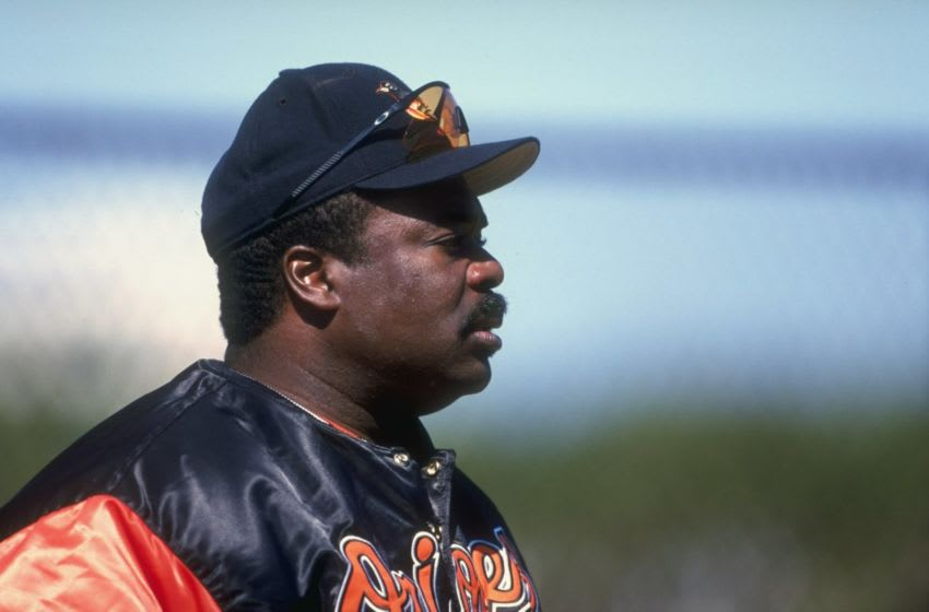 2 Mar 1998: Bench coach Eddie Murray of the Baltimore Orioles looks on during a spring training game against the Montreal Expos at the Ft. Lauderdale Stadium in Ft. Lauderdale, Florida. The Orioles defeated the Expos 11-9. Mandatory Credit: Jamie Squire