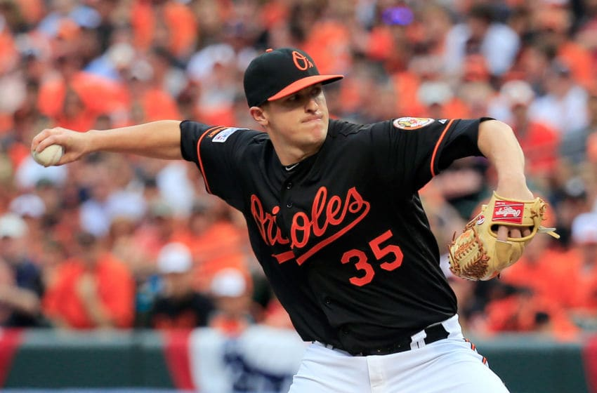 BALTIMORE, MD - OCTOBER 03: Brad Brach #35 of the Baltimore Orioles throws a pit against the Detroit Tigers during Game Two of the American League Division Series at Oriole Park at Camden Yards on October 3, 2014 in Baltimore, Maryland. (Photo by Rob Carr/Getty Images)