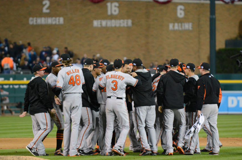 DETROIT, MI - OCTOBER 05: The Baltimore Orioles players celebrate their 2 to 1 win over the Detroit Tigers to sweep the series in Game Three of the American League Division Series at Comerica Park on October 5, 2014 in Detroit, Michigan. (Photo by Mark Cunningham/MLB Photos via Getty Images)