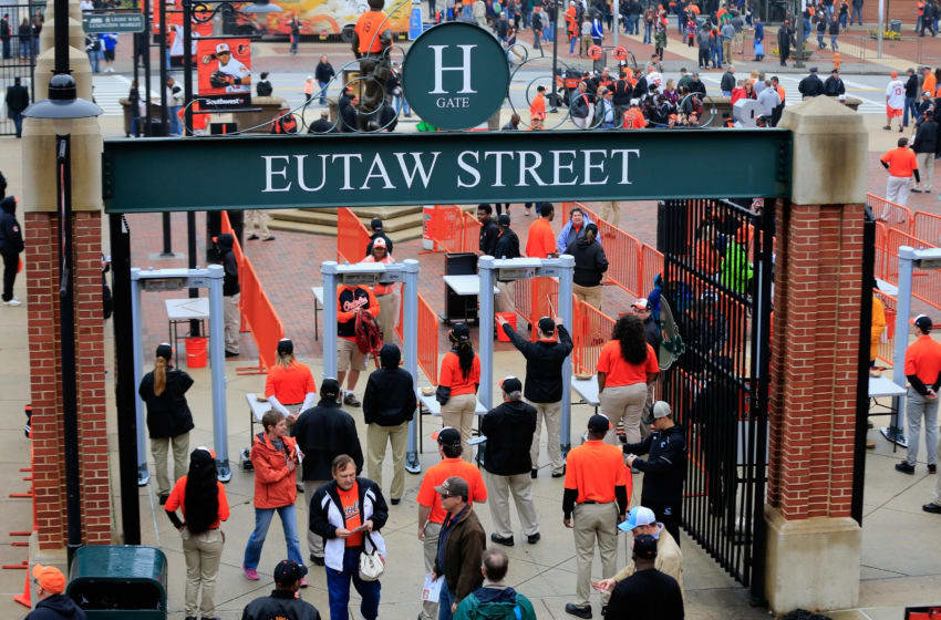 BALTIMORE, MD - APRIL 10: Fans enter the stadium prior to the Toronto Blue Jays and Baltimore Orioles home opener at Oriole Park at Camden Yards on April 10, 2015 in Baltimore, Maryland. (Photo by Rob Carr/Getty Images)