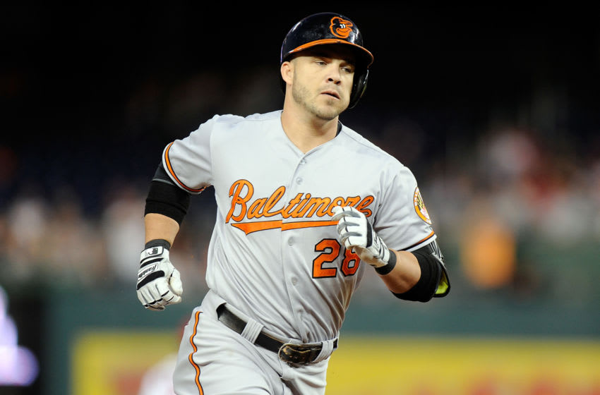 WASHINGTON, DC - SEPTEMBER 23: Steve Pearce #28 of the Baltimore Orioles runs the bases against the Washington Nationals at Nationals Park on September 23, 2015 in Washington, DC. (Photo by G Fiume/Getty Images)