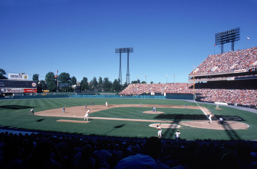 BALTIMORE, MD - 1982: Left field view of Memorial Stadium with the Baltimore Orioles on field circa 1982 in Baltimore, Maryland. (Photo by Rich Pilling/MLB Photos via Getty Images)
