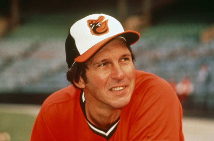 BALTIMORE, MD - CIRCA 1975: Brooks Robinson #5 of the Baltimore Orioles looks on prior to the start of a Major League Baseball game circa 1975 at Memorial Stadium in Baltimore, Maryland. Robinson played for the Orioles from 1955-77. (Photo by Focus on Sport/Getty Images)