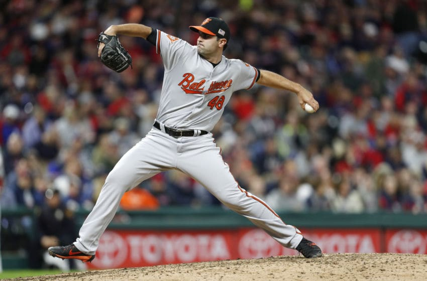 CLEVELAND, OH - SEPTEMBER 10: Richard Bleier #48 of the Baltimore Orioles pitches against the Cleveland Indians in the seventh inning at Progressive Field on September 10, 2017 in Cleveland, Ohio. The Indians defeated the Orioles 3-2, (Photo by David Maxwell/Getty Images)