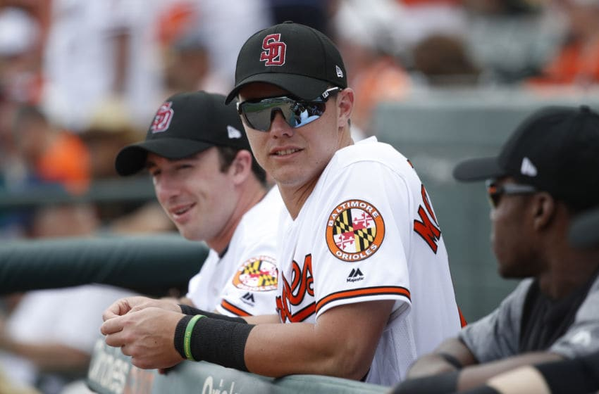 SARASOTA, FL - FEBRUARY 23: Ryan Mountcastle #79 of the Baltimore Orioles looks on during a Grapefruit League spring training game against the Tampa Bay Rays at Ed Smith Stadium on February 23, 2018 in Sarasota, Florida. The Rays won 6-3. (Photo by Joe Robbins/Getty Images)