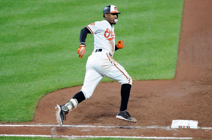 BALTIMORE, MD - AUGUST 21: Adam Jones #10 of the Baltimore Orioles rounds the bases after hitting a home run in the fifth inning against the Oakland Athletics at Oriole Park at Camden Yards on August 21, 2017 in Baltimore, Maryland. (Photo by Greg Fiume/Getty Images)
