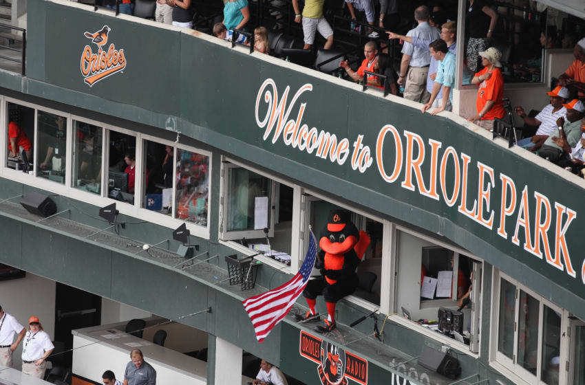 BALTIMORE, MD - JUNE 26: The Oriole Bird mascot waves an American flag from the press box during the Baltimore Orioles and Cincinnati Reds at Oriole Park at Camden Yards on June 26, 2011 in Baltimore, Maryland. (Photo by Rob Carr/Getty Images)