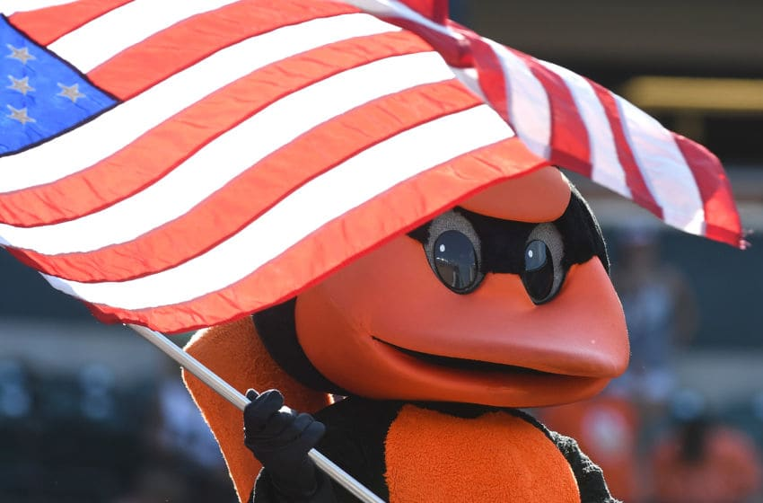 BALTIMORE, MD - SEPTEMBER 24: The Baltimore Orioles mascot waves the American Flag during the seventh inning stretch against the Tampa Bay Rays at Oriole Park at Camden Yards on September 24, 2017 in Baltimore, Maryland. (Photo by Greg Fiume/Getty Images)