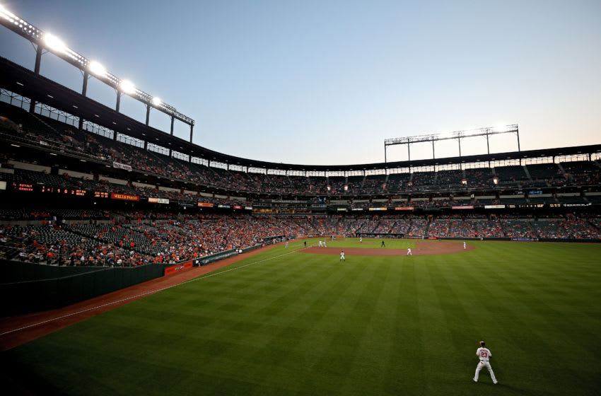 BALTIMORE, MD - JULY 31: Joey Rickard #23 of the Baltimore Orioles stands in the right field during the fourth inning against the Kansas City Royals at Oriole Park at Camden Yards on July 31, 2017 in Baltimore, Maryland. (Photo by Patrick Smith/Getty Images)
