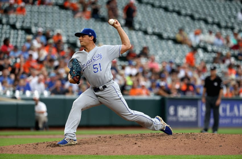 BALTIMORE, MD - AUGUST 02: Starting pitcher Jason Vargas #51 of the Kansas City Royals throws to a Baltimore Orioles batter in the third inning at Oriole Park at Camden Yards on August 2, 2017 in Baltimore, Maryland. (Photo by Rob Carr/Getty Images)