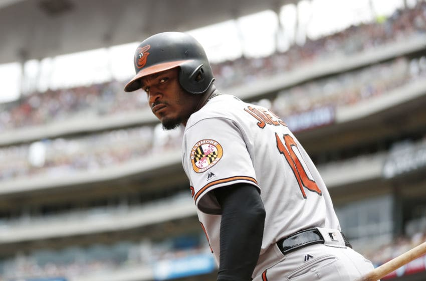MINNEAPOLIS, MN - JULY 9: Adam Jones #10 of the Baltimore Orioles against the Minnesota Twins in the second inning of their baseball game on July 9, 2017 at Target Field in Minneapolis, Minnesota.(Photo by Andy King/Getty Images)