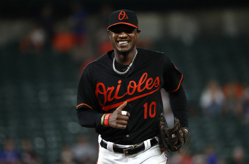 BALTIMORE, MD - JULY 27: Adam Jones #10 of the Baltimore Orioles looks on against the Tampa Bay Rays during the third inning at Oriole Park at Camden Yards on July 27, 2018 in Baltimore, Maryland. (Photo by Patrick Smith/Getty Images)