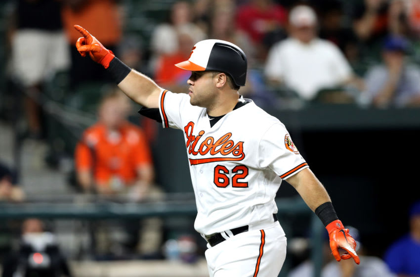BALTIMORE, MD - SEPTEMBER 19: DJ Stewart #62 of the Baltimore Orioles celebrates after hitting a solo home run against the Toronto Blue Jays at Oriole Park at Camden Yards on September 19, 2018 in Baltimore, Maryland. (Photo by Rob Carr/Getty Images)