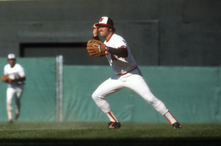 BALTIMORE, MD - CIRCA 1977: Rich Dauer #44 of the Baltimore Orioles in action during a Major League Baseball game circa 1977 at Memorial Stadium in Baltimore, Maryland. Dauer played for the Orioles from 1976-85. (Photo by Focus on Sport/Getty Images)