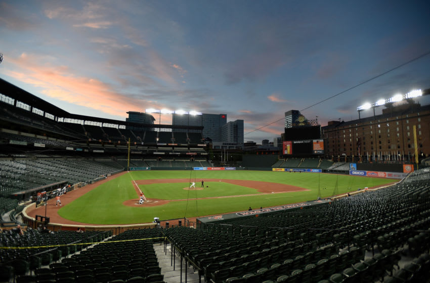 BALTIMORE, MD - JULY 09: A view of Oriole Park at Camden Yards during a Baltimore Orioles intrasquad game on July 9, 2020 in Baltimore, Maryland. (Photo by Greg Fiume/Getty Images)