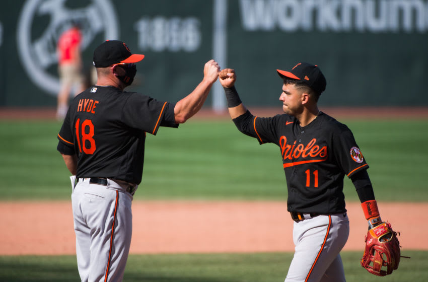 BOSTON, MA - JULY 25: Jose Iglesias #11 celebrates with Baltimore Orioles manager Brandon Hyde after defeating the Boston Red Sox at Fenway Park on July 25, 2020 in Boston, Massachusetts. (Photo by Kathryn Riley/Getty Images)