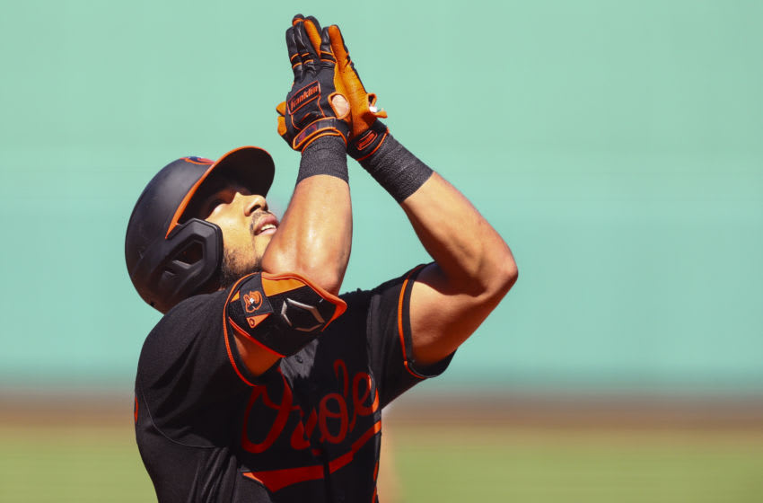 BOSTON, MA - JULY 26: Anthony Santander #25 of the Baltimore Orioles reacts as he rounds the bases after hitting a two-run home run in the fourth inning of a game against the Boston Red Sox at Fenway Park on July 26, 2020 in Boston, Massachusetts. (Photo by Adam Glanzman/Getty Images)