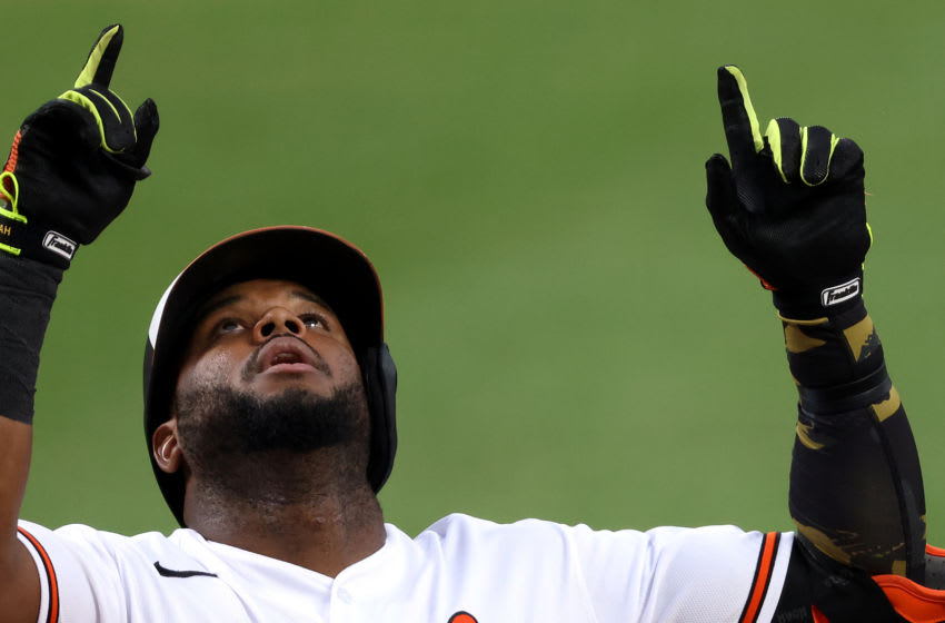BALTIMORE, MARYLAND - JULY 30: Hanser Alberto #57 of the Baltimore Orioles celebrates after hitting a two RBI home run against the New York Yankees in the first inning at Oriole Park at Camden Yards on July 30, 2020 in Baltimore, Maryland. (Photo by Rob Carr/Getty Images)