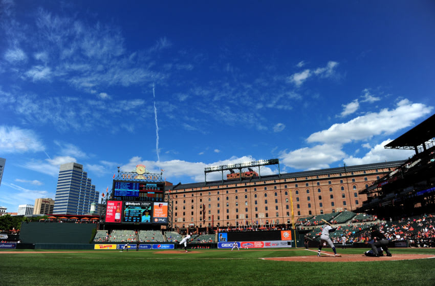 Aug 11, 2019; Baltimore, MD, USA; A general view of Oriole Park at Camden Yards during a game between the Houston Astros and Baltimore Orioles. Mandatory Credit: Evan Habeeb-USA TODAY Sports
