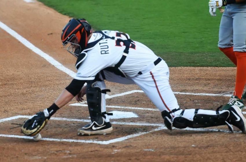 Baltimore Orioles' No. 1 overall pick Adley Rutschman stops a ball during his Delmarva Shorebirds' debut on Wednesday, Aug. 21, 2019. Adley 4