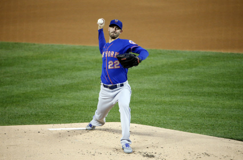 Sep 26, 2020; Washington, District of Columbia, USA; New York Mets starting pitcher Rick Porcello (22) throws the ball during the first inning against the Washington Nationals at Nationals Park. Mandatory Credit: Amber Searls-USA TODAY Sports