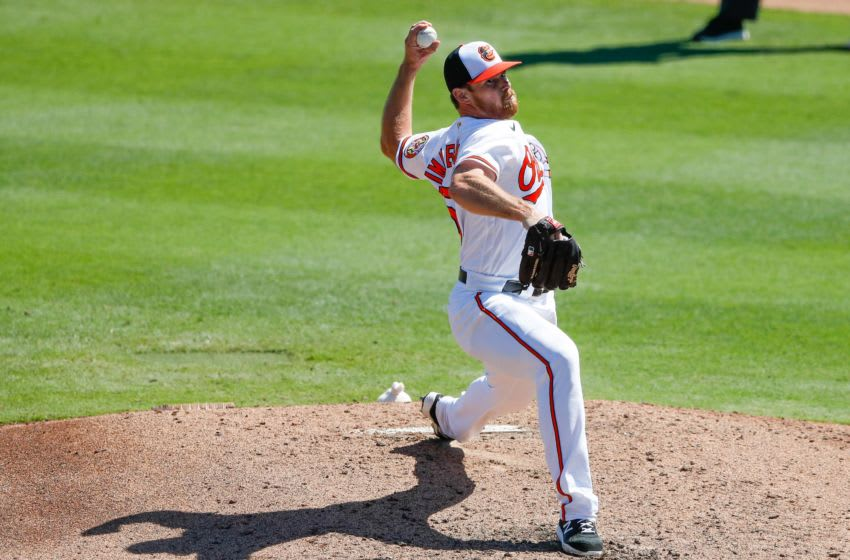 Mar 4, 2021; Sarasota, Florida, USA; Baltimore Orioles pitcher Bruce Zimmermann (50) pitches in the third inning during spring training at Ed Smith Stadium. Mandatory Credit: Nathan Ray Seebeck-USA TODAY Sports
