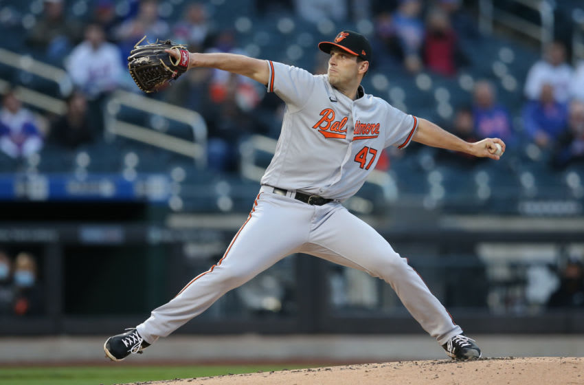 May 11, 2021; New York City, New York, USA; Baltimore Orioles starting pitcher John Means (47) pitches against the New York Mets during the first inning at Citi Field. Mandatory Credit: Brad Penner-USA TODAY Sports