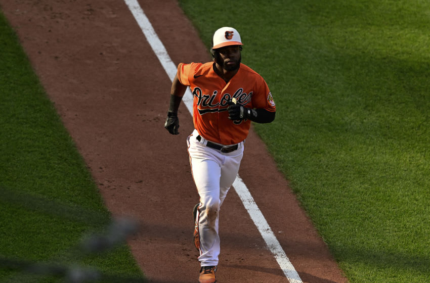 Jun 5, 2021; Baltimore, Maryland, USA; Baltimore Orioles center fielder Cedric Mullins (31) rounds the bases after a fifth inning home run against the Cleveland Indians at Oriole Park at Camden Yards. Mandatory Credit: Tommy Gilligan-USA TODAY Sports