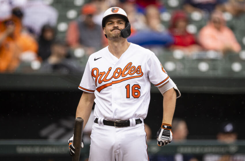Aug 22, 2021; Baltimore, Maryland, USA; Baltimore Orioles designated hitter Trey Mancini (16) reacts after striking out against the Atlanta Braves during the eighth inning at Oriole Park at Camden Yards. Mandatory Credit: Scott Taetsch-USA TODAY Sports