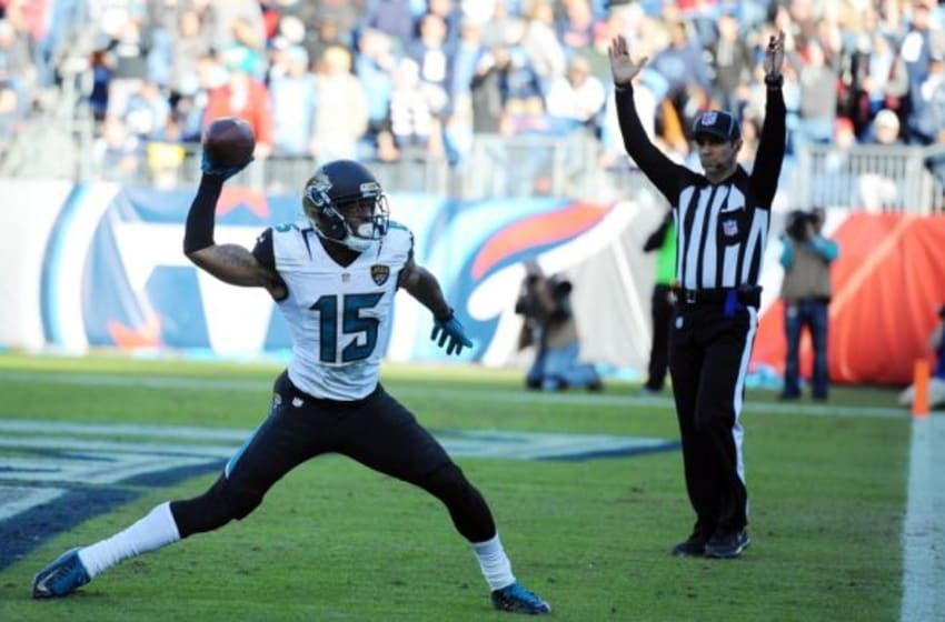 Dec 6, 2015; Nashville, TN, USA; Jacksonville Jaguars receiver Allen Robinson (15) celebrates after a touchdown reception during the second half against the Tennessee Titans at Nissan Stadium. The Titans won 42-39. Mandatory Credit: Christopher Hanewinckel-USA TODAY Sports