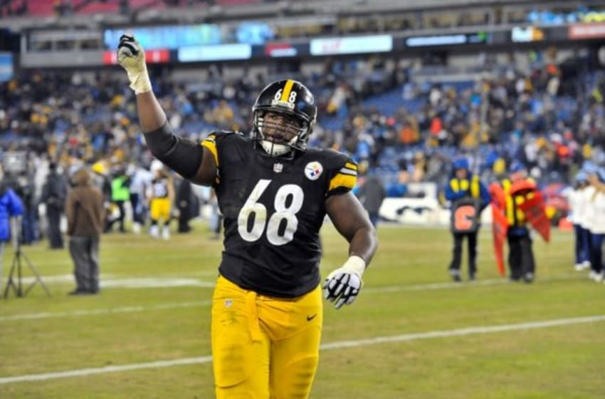 Nov 17, 2014; Nashville, TN, USA; Pittsburgh Steelers tackle Kelvin Beachum (68) waves to fans as he leaves the field after his team defeated the Tennessee Titans 27-24 during the second half at LP Field. Mandatory Credit: Jim Brown-USA TODAY Sports