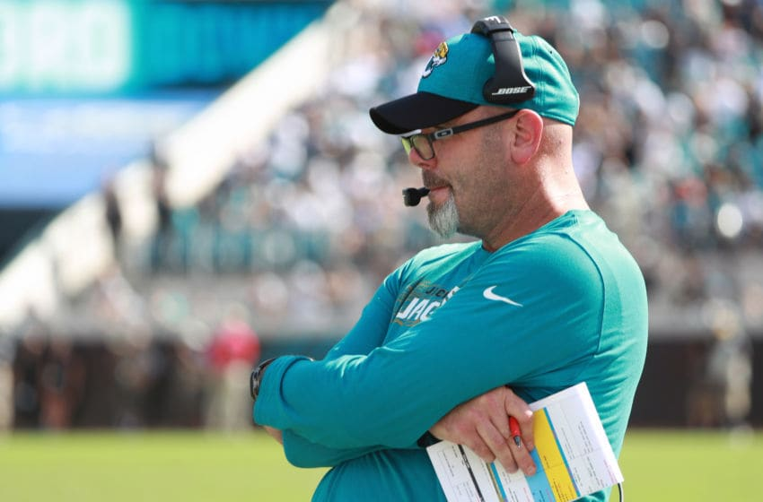 JACKSONVILLE, FL - SEPTEMBER 30: Jacksonville Jaguars defensive coordinator Todd Wash watches the action during their game against the New York Jets at TIAA Bank Field on September 30, 2018 in Jacksonville, Florida. (Photo by Scott Halleran/Getty Images)