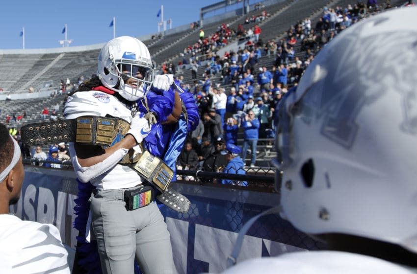 BIRMINGHAM, AL - DECEMBER 22: Chris Claybrooks #31 of the Memphis Tigers celebrates after returning an interception 37 yards for a touchdown against the Wake Forest Demon Deacons in the second quarter of the Birmingham Bowl at Legion Field on December 22, 2018 in Birmingham, Alabama. (Photo by Joe Robbins/Getty Images)