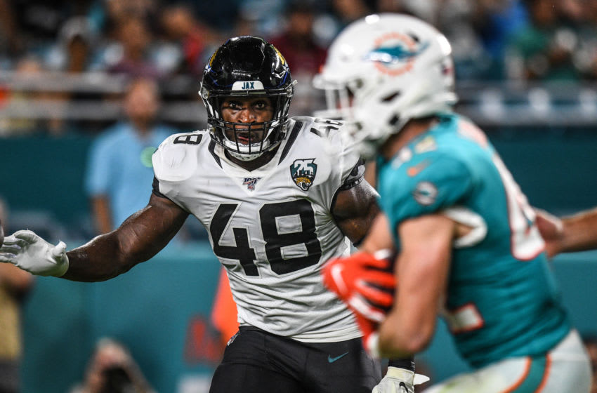 MIAMI, FL - AUGUST 22: Leon Jacobs #48 of the Jacksonville Jaguars in action during the preseason game against the Miami Dolphins at Hard Rock Stadium on August 22, 2019 in Miami, Florida. (Photo by Mark Brown/Getty Images)