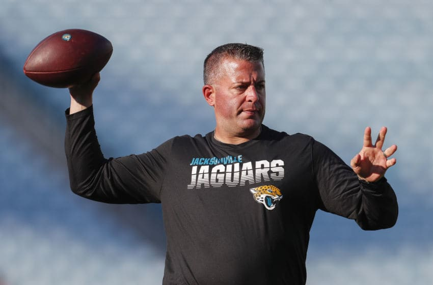 JACKSONVILLE, FLORIDA - AUGUST 29: Offensive Coordinator John DeFilippo of the Jacksonville Jaguars throws a pass before the start of a preseason game against the Atlanta Falcons at TIAA Bank Field on August 29, 2019 in Jacksonville, Florida. (Photo by James Gilbert/Getty Images)