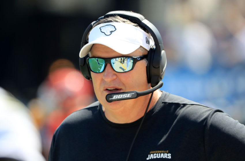 JACKSONVILLE, FLORIDA - SEPTEMBER 08: Head coach Doug Marrone of the Jacksonville Jaguars watches the action during the game against the Kansas City Chiefs at TIAA Bank Field on September 08, 2019 in Jacksonville, Florida. (Photo by Sam Greenwood/Getty Images)